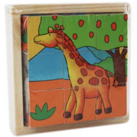 Wooden Cube Puzzle Zoo Animals